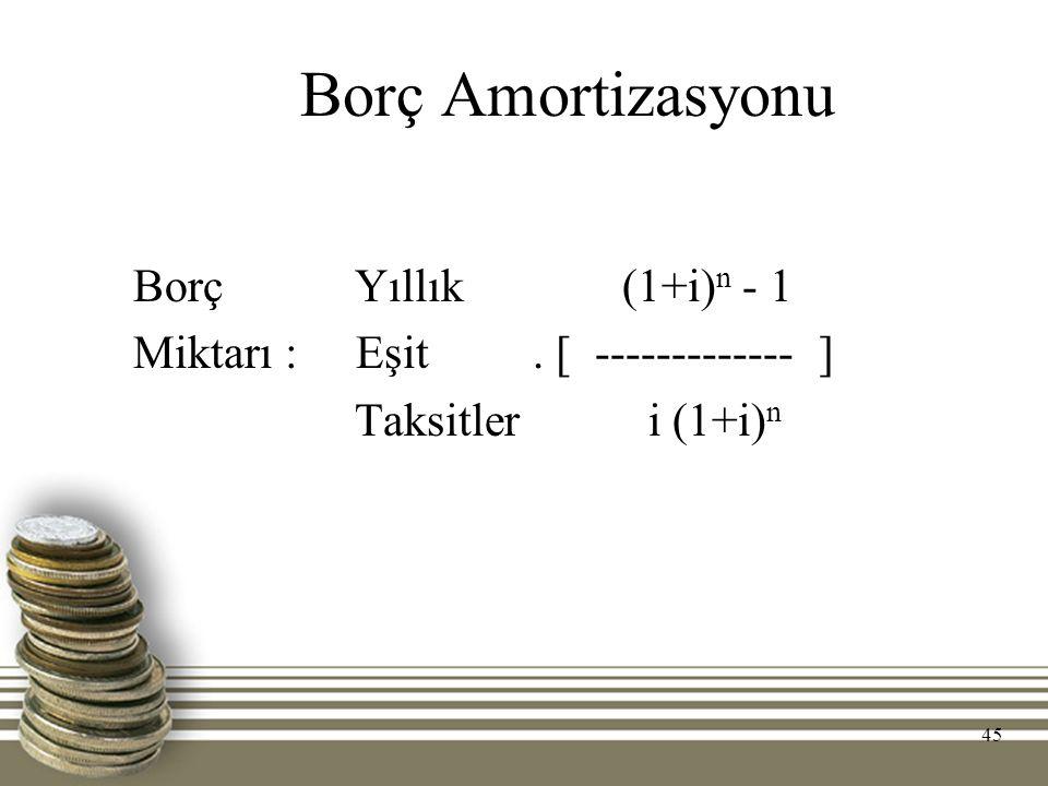 Borç Amortizasyonu Borç Yıllık (1+i)n - 1 Miktarı : Eşit . [ ------------- ] Taksitler i (1+i)n